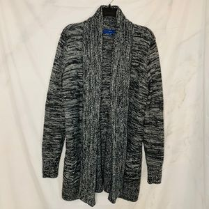 Apt. 9 Gray Marled Knit Open Front Cardigan Large